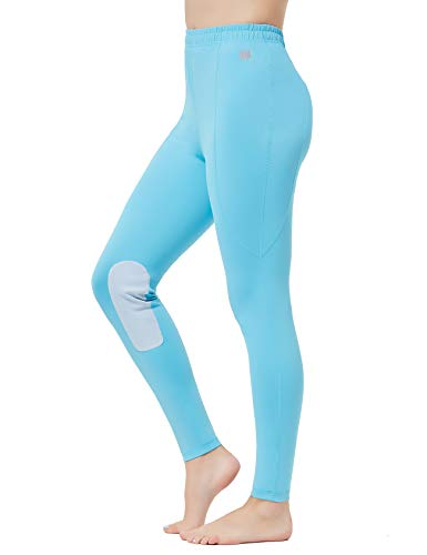 FitsT4 Kids Riding Tights Performance Flex Knee Patch Equestrian Schooling Tights Blue M (Riding Patch Tights Knee)