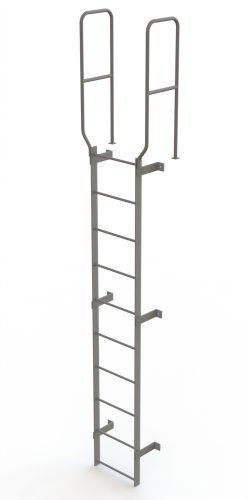 Steel Fixed Ladder - Tri-Arc WLFS0210 10-Rung Walk-Thru Uncaged Fixed Steel Ladder