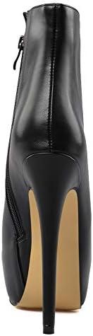 JSHS Stivali con Tacco Impermeabili, Stivali in Pelle Nera di Alta qualità, Suole in Gomma, Adatti per Eventi da Ballo, aziendali  uEDbac