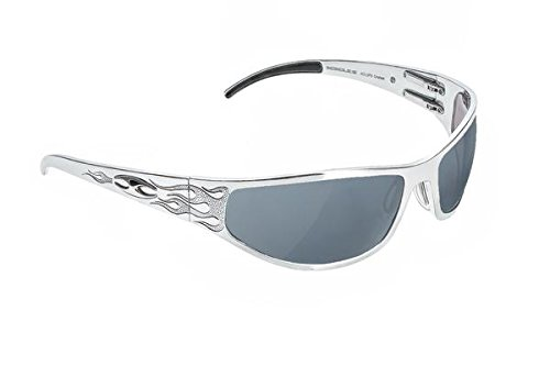 2dabddb531 Amazon.com  ICICLES Baggers Flames Smoke Mirror Lens Sunglasses with Silver  Frame  Clothing