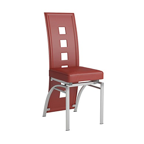 Los Feliz Dining Chairs Red and Silver (Set of 2) (Red Leather Contemporary Chair)