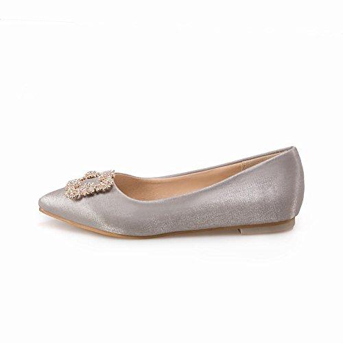 Pied De Charme Womens Confort Tissu Bout Pointu Appartements Pompes Chaussures Gris