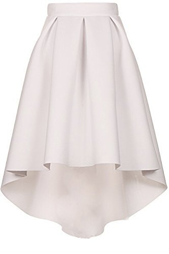 CoutureBridal Femme Jupe Elgante Jupe Vintage Haille Haute au Genou Blanc