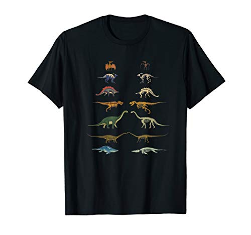 Dinosaurs Types T-Shirt Museum & Skeletons Fossils T-Rex ()