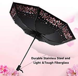 HanJD-JS Animals Cartoon Wildlife Automatic Folding Umbrella Tri-fold Sun UV Protection Clear Umbrella