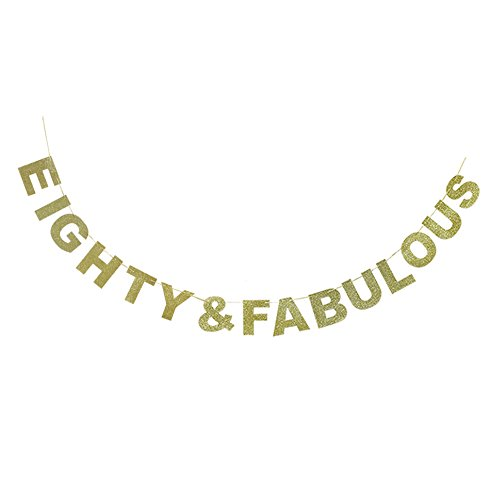 Hatcher lee Eighty & Fabulous Banner Gold Glitter