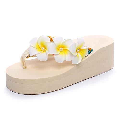 Women's Flip Flops Bohemian Wedges Thongs Plumeria Flowers Slip On EVA Sole Platform Beach Casual Shoes Beige