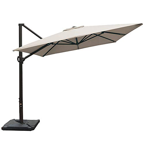 Abba Patio Rectangular Offset Cantilever Outdoor Patio Hanging Umbrella with Cross Base, 8 x 10-Feet, Cream
