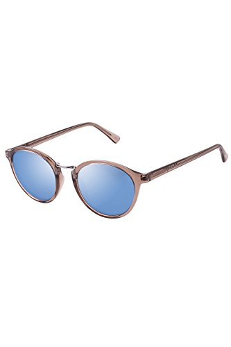 Le Specs Women's Paradox Polarized Sunglasses, Light Pebble/Blue Revo, One - Le Mirrored Sunglasses Specs