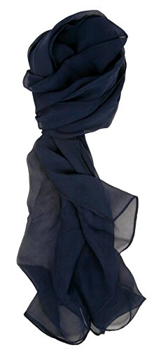 Love Lakeside Modern Chiffon Solid Color Silk Blend Oblong Scarf Navy Blue