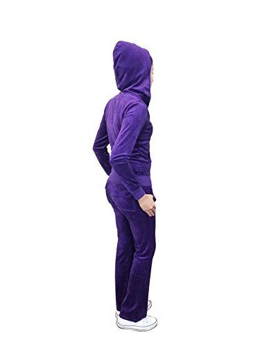 Instar Mode Women's Zip up Plush Soft Velour Jogging Track Suit (VS795110 Purple, (Purple Womens Tracksuit)