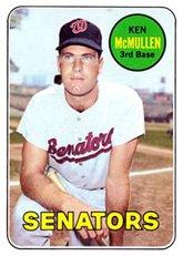 - 1969 Topps Regular (Baseball) card#319 Ken McMullen of the Washington Senators Grade very good/excellent