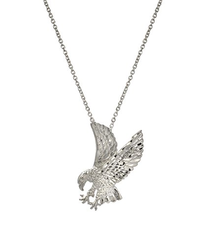 [Sterling Silver American Bald Eagle Pendant Necklace, 18 Inches] (Sterling Eagle)