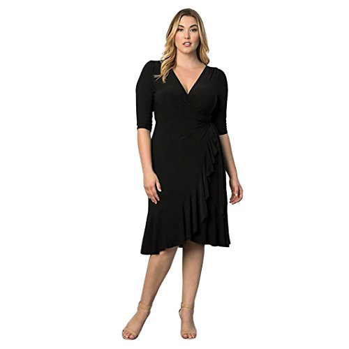 Women Three Quarter Sleeve Bodycon Dress Plus Size Black - 7