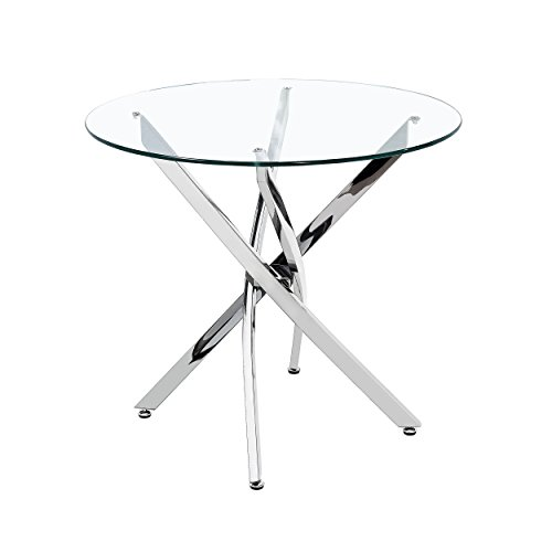 - Great Deal Furniture 305343 King Contemporary Stainless Steel Bistro Dining Table with Tempered Glass Top, Black, Clear
