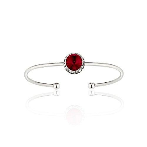 Styles By JS Swarovski Crystal Stackable Birthstone Cuff Bracelet (01- Red Siam - January)
