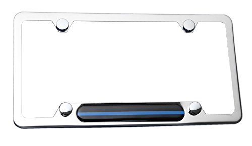 LFPartS Stainless Steel Polished Mirror License Plate Frame (Thin Blue Line) for Cars, Trucks Show Support of Police and Law Enforcement Officers (Plate Mirror License Blue)