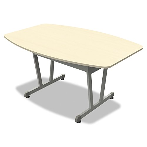 Linea Italia TR724OAT Trento Line Conference Table, 59-1/8'' by 39-1/2'' by 29-1/2'', Oatmeal/Metallic Gray by Linea Italia