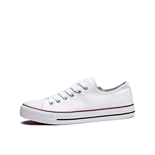 Womens Canvas Sneakers Low Cut Lace Ups Casual Walking Shoes(White,US10) by FRACORA (Image #1)