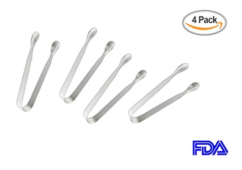 Sugar Tongs for Tea Party Food Folder and Ice Clip Small Kitchen Tongs(4 Pack),Mini Serving Tongs,Heavy Duty,Premium 304 Stainless Steel Mini Ice Tongs Silver,Coffee Bar, Appetizer Tongs