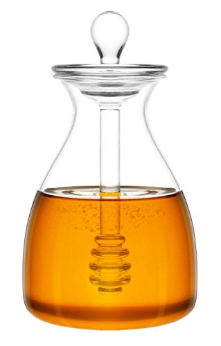 Honey Dispenser - Mkono Honey Pot Glass Honey Jar with Dipper and Lid Cover for Home Kitchen, Clear,14 Ounces