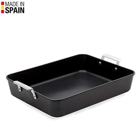 Valira 4687/25 Plat à four de 35x27 cm fabriqué en Espagne, en fonte d'aluminium avec anti-adhérent écologique renforcé, apte pour l'induction, Noir