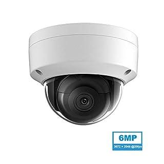6MP Security PoE IP Dome Camera Outdoor, OEM DS-2CD2163G0-I 2.8mm, 3072 × 2048@20fps, 98ft EXIR Night Vision, Smart H.265+, WDR,DNR,SD Card Slot,IP67,IK10,ONVIF Network Surveillance Camera