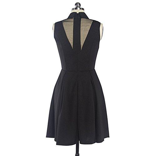 JOTHIN Mädchen POLO-ausschnitt Kleider Mesh Rockabilly Kleid Frauen Einfarbige Sommerkleid Knielang Schulmädchen Schwarz VZzQZHOPkm
