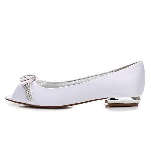 Toe Del yc Satin Shoes Heel 13 Para Prom Peep Boda Mujer Ivory Piedras Low Dedo Redondo Pie Size court L 5049 B10Tqqw