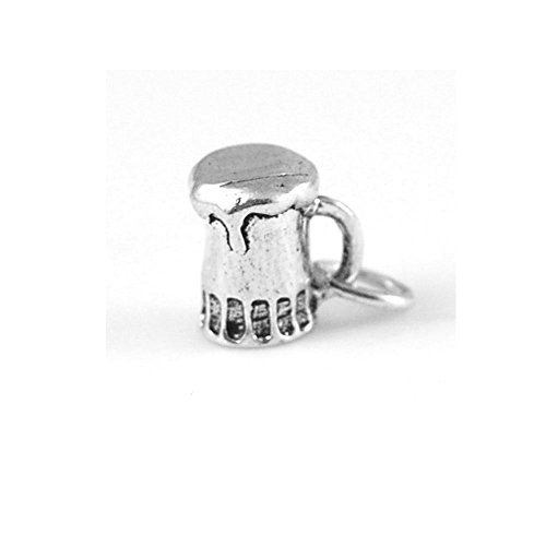 (Sterling Silver Solid 3D Small Beer Mug Charm Item)