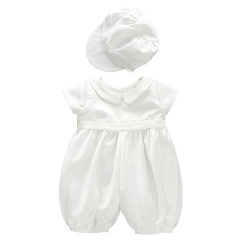 (Baby Boys Short Sleeves Christening Baptism Coverall Smocked Romper Two Piece Outfit with Hat White Size)