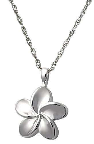 Memorial Gallery MG-3145s Plumeria Flower Sterling Silver Cremation Pet - Clasp Plumeria