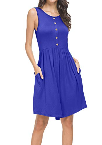Womens Summer Pleated Sleeveless Pockets Loose Casual Beach Tank Dress Blue L