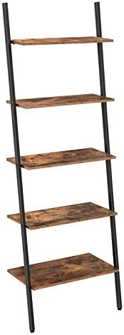 HOOBRO Ladder Shelf, 5-Tier Sloping Bookshelf, Industrial Plant Flower Stand Shelves, Leaning-Against-Wall Storage Rack for Living Room, Kitchen, Office, Metal Frame, Rustic Brown BF70CJ01