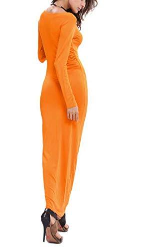 Cromoncent Femmes Tombent O-cou Longue Robe Maxi Coupe Slim Hanche Paquet Manches Orange Rouge