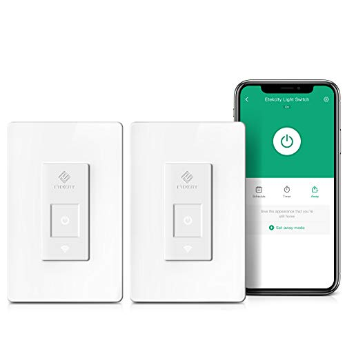Etekcity Smart WiFi Light Switch with Timer (2-Pack), Wireless Remote Control, No Hub Required, Easy Installation, Works with Alexa & Google Home, Single Pole Only, White, ETL Listed, 2 Year Warranty