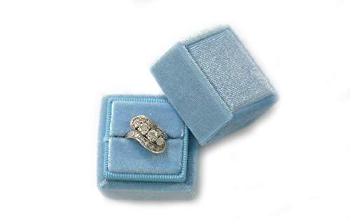 Velvet Square Single Ring Box, Photography Prop, Vintage Wedding Ceremony Ring Box Detachable Lid, Engagement, Modern Slim Ring Box Display Rose Pink, Single Ring Box (Dusty Sky Blue, Single Ring Box)