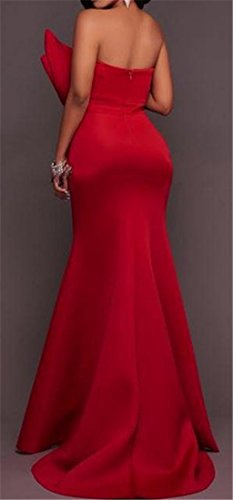 Maxi Shoulder Red Bow Trim Womens Party Sexy Off Cromoncent Dress Strapless qAO8Zwgn