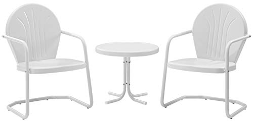 Crosley Furniture Griffith 3-Piece Metal Outdoor Conversation Set with Table and 2 Chairs - White (Patio Chairs Bright)