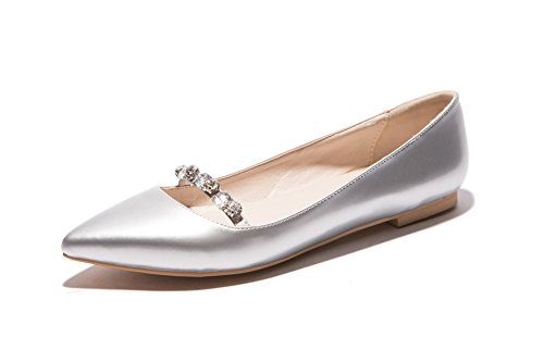BalaMasa Ladies Glass Diamond Hollow Out Leopard Pattern Low-Cut Uppers Patent Leather Pumps-Shoes Silver nawh64