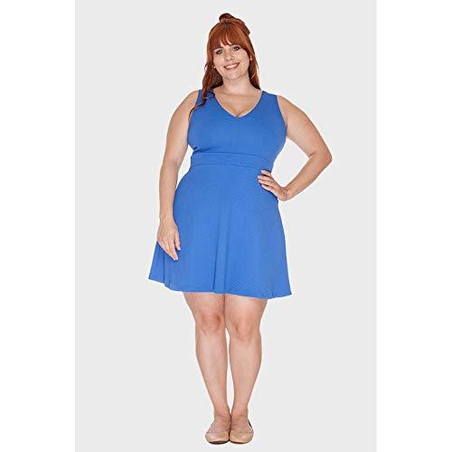 Vestido Curto Stunner Plus Size Azul-44/46