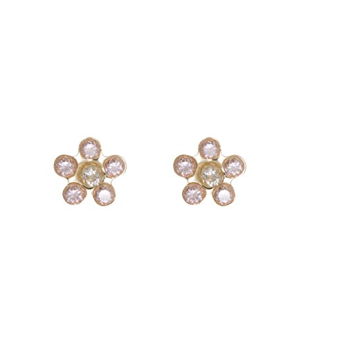 Sally Rose Girls & Kids 14k Yellow Gold Cubic Zirconia Flower Stud Earrings