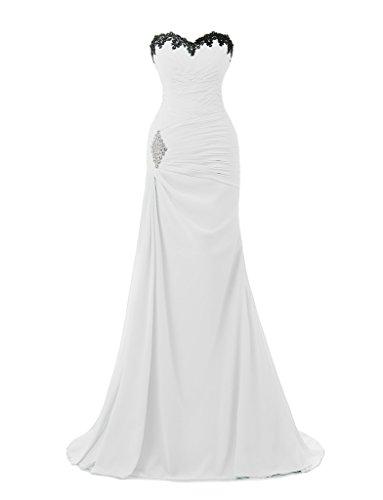 Ysmo 2016de las mujeres gasa appliques Beaded largo de sirena vestido de noche Prom Fiesta blanco