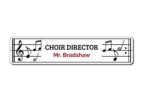 Choir Director Sign, Gift for Teacher, Music Lover Gift, Teacher Name Sign, Music Note Sign, Metal Music Decor - Quality Aluminum - 4