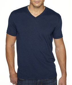Premium Fit Tee - Next Level Apparel 6440 Mens Premium Fitted Sueded V-Neck Tee - Midnight Navy, Large