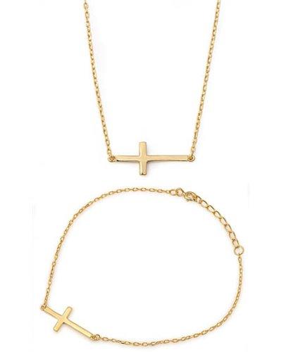 22mm Designer (Horizontal) Sideways Holy Cross 18K-GOLD PLATED .925 Italian (18k Italian Cross)