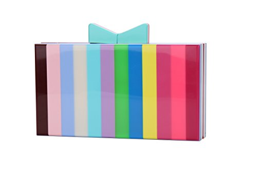 Runhetian Women Acrylic Clutch Purses for Women with Chain Strap Striped Desiger (10) by Runhetian
