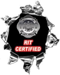 Mini Ripped Torn Metal Decal RIT Certified Rapid Intervention Team - 4
