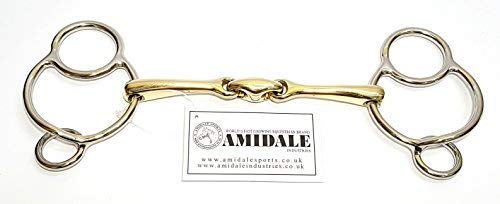 5.50 INCHES AMIDALE SPORTS Amidale Universal 3 Ring Gag Horse Bit German Silver Stainless Steel Bit BNWT