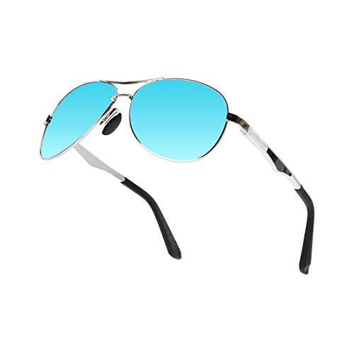 WELUK Polarized Pliot Driving Sunglasses for Men Military Style Metal Frame with Case